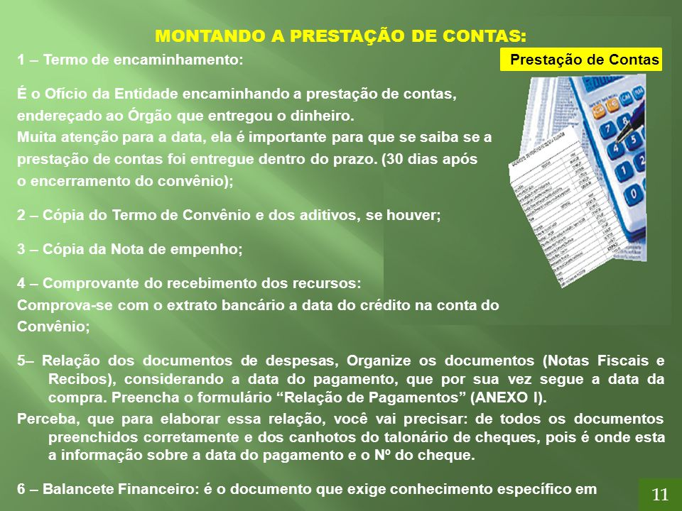 MONTANDO A PRESTAÇÃO DE CONTAS: