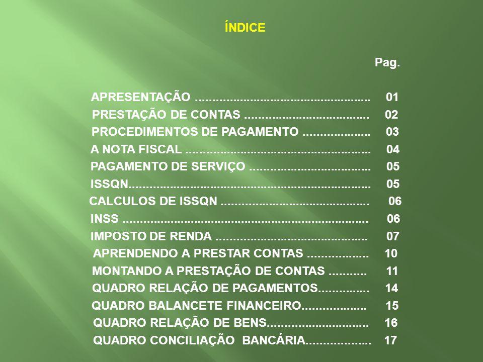 ÍNDICE Pag. APRESENTAÇÃO. 01 PRESTAÇÃO DE CONTAS