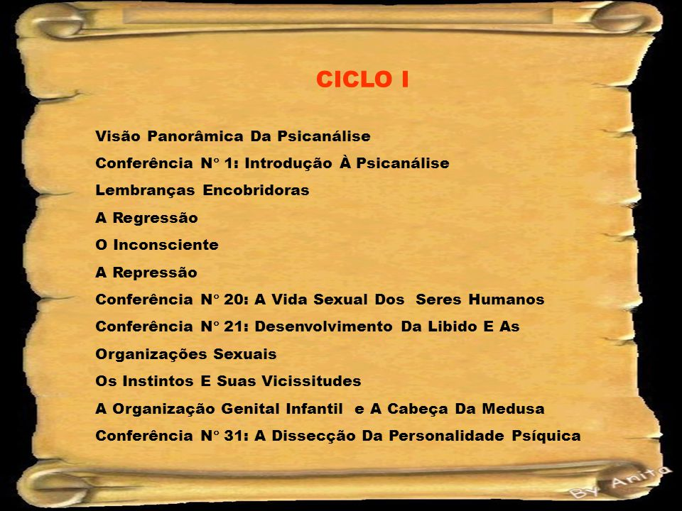 CICLO I Visão Panorâmica Da Psicanálise
