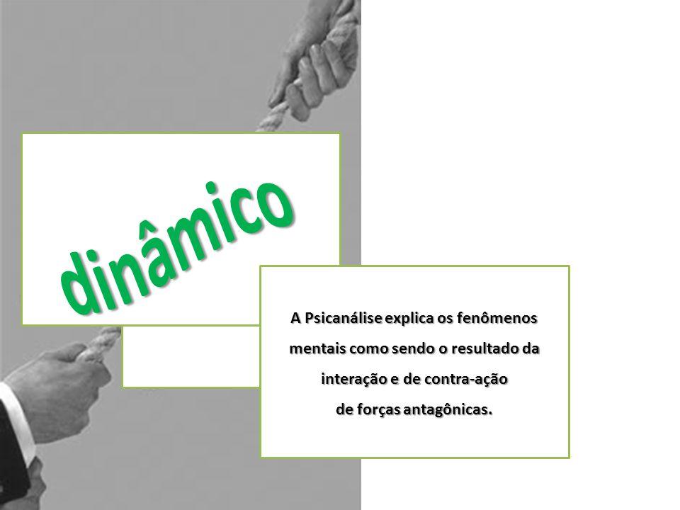 dinâmico A Psicanálise explica os fenômenos mentais como sendo o resultado da interação e de contra-ação.