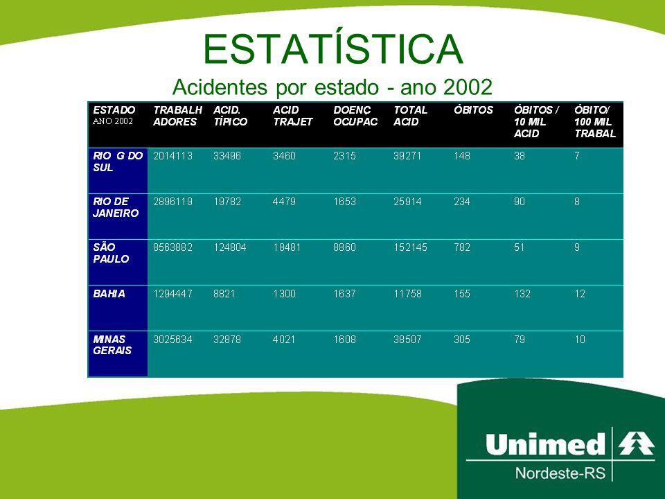 ESTATÍSTICA Acidentes por estado - ano 2002