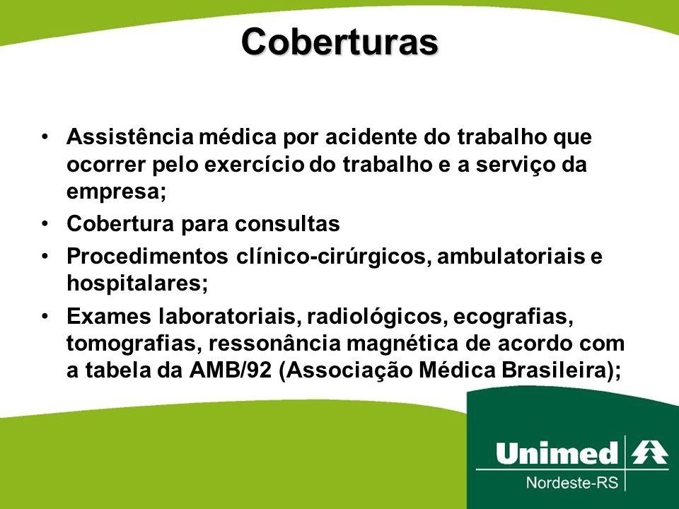 Coberturas Assistência médica por acidente do trabalho que ocorrer pelo exercício do trabalho e a serviço da empresa;