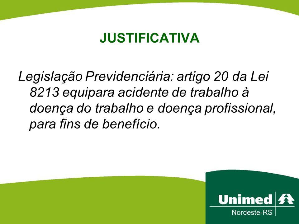 JUSTIFICATIVA Legislação Previdenciária: artigo 20 da Lei 8213 equipara acidente de trabalho à doença do trabalho e doença profissional, para fins de benefício.