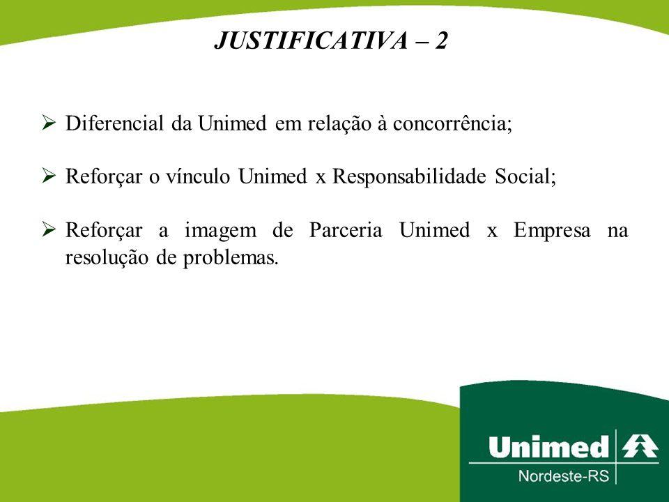 JUSTIFICATIVA – 2 Diferencial da Unimed em relação à concorrência;