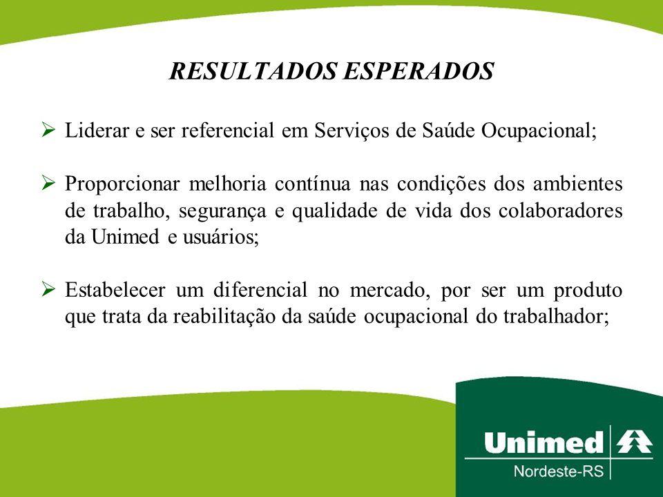 RESULTADOS ESPERADOS Liderar e ser referencial em Serviços de Saúde Ocupacional;