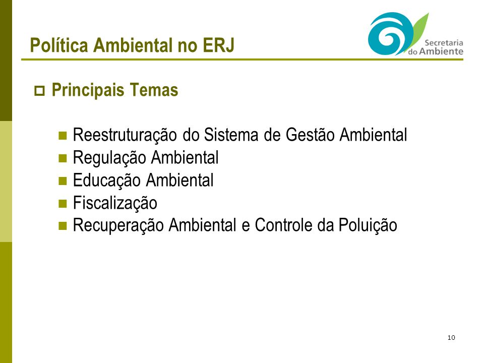 Política Ambiental no ERJ