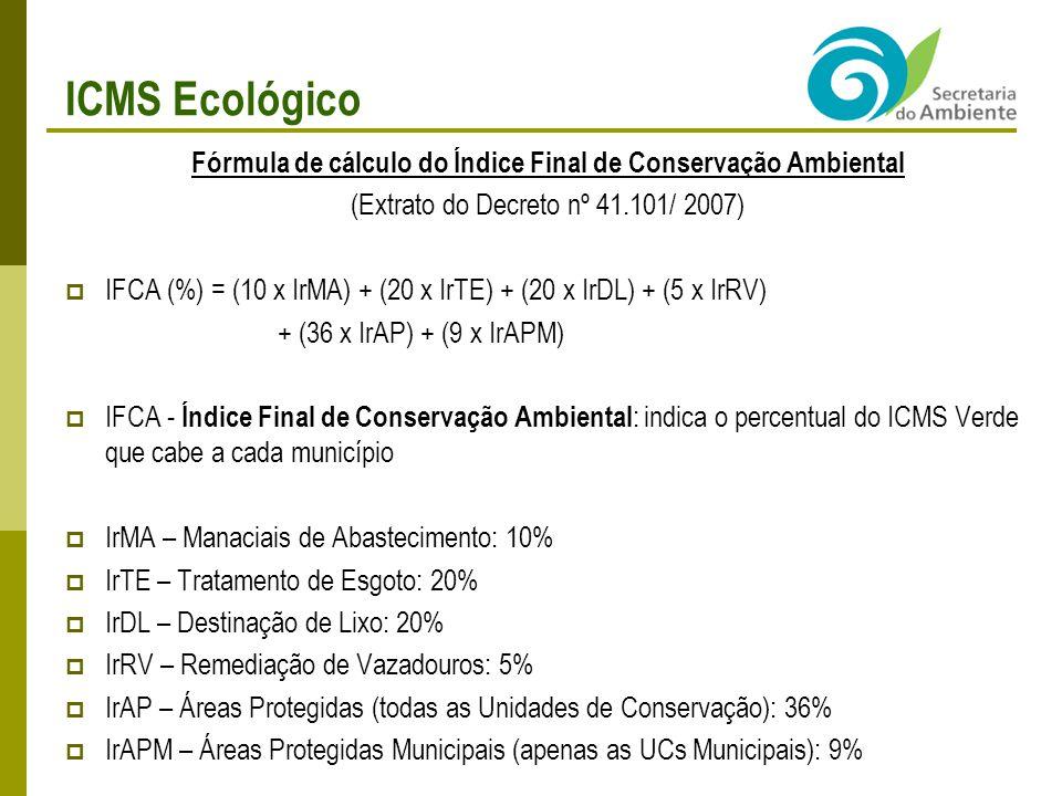 Fórmula de cálculo do Índice Final de Conservação Ambiental