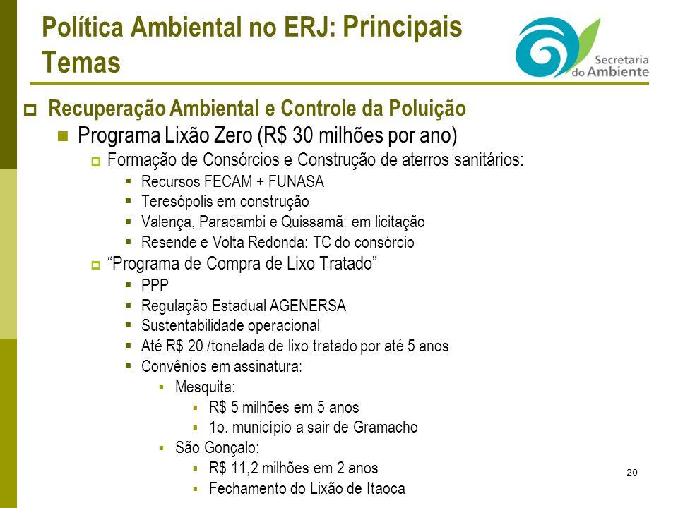 Política Ambiental no ERJ: Principais Temas