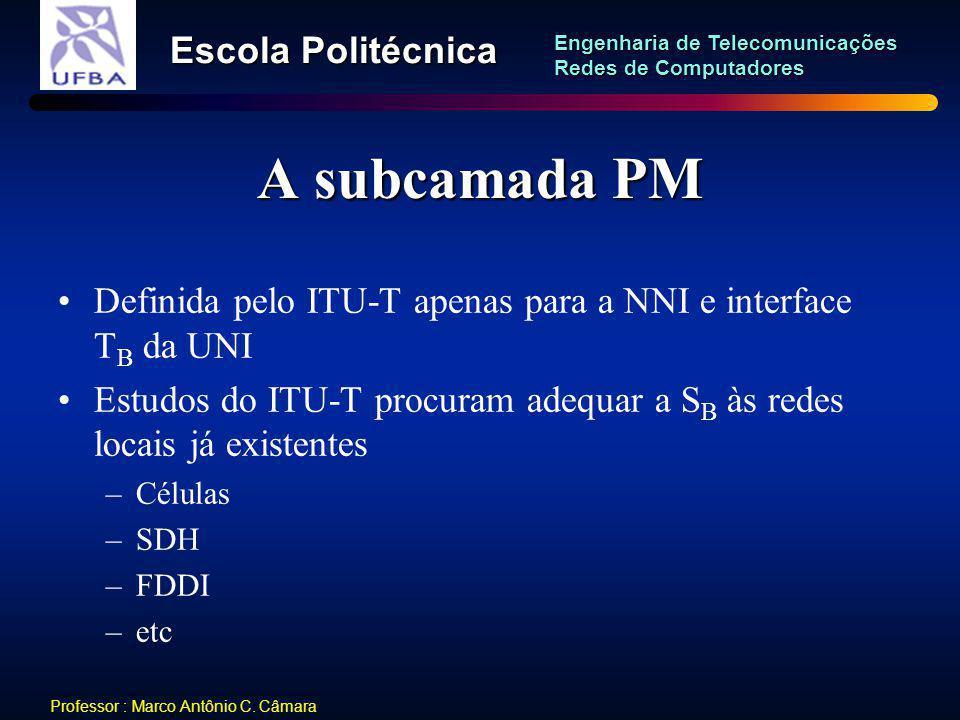 A subcamada PM Definida pelo ITU-T apenas para a NNI e interface TB da UNI. Estudos do ITU-T procuram adequar a SB às redes locais já existentes.