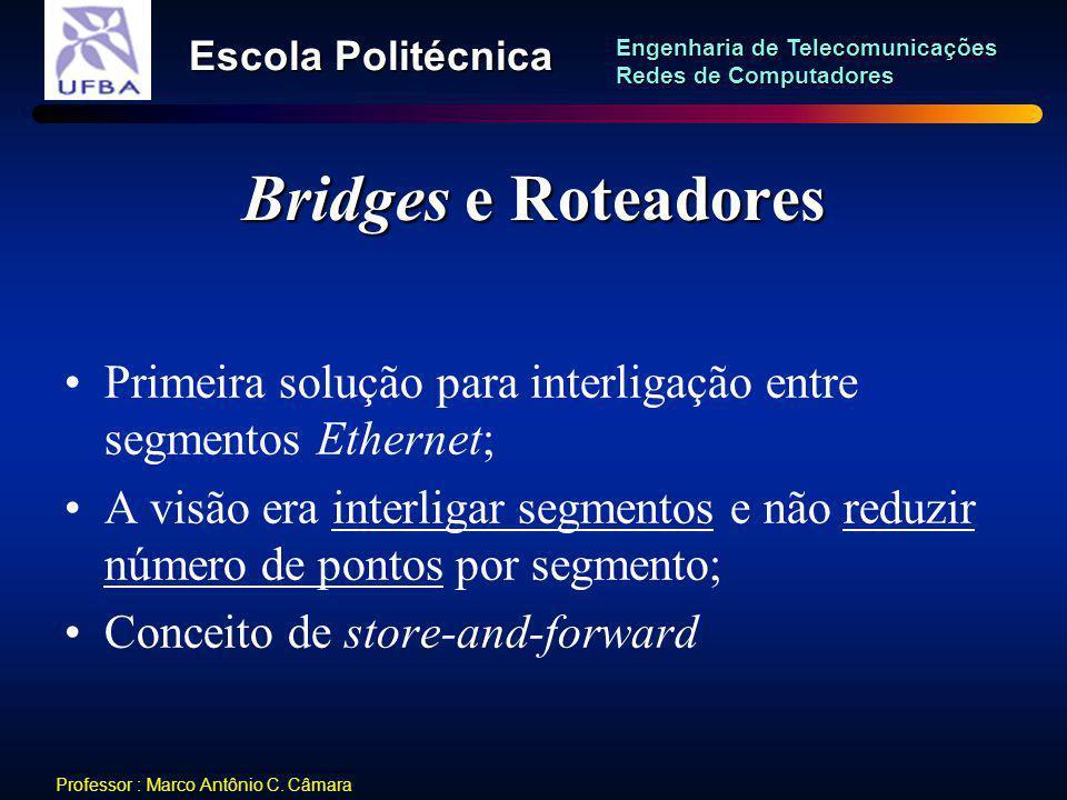 Bridges e Roteadores Primeira solução para interligação entre segmentos Ethernet;