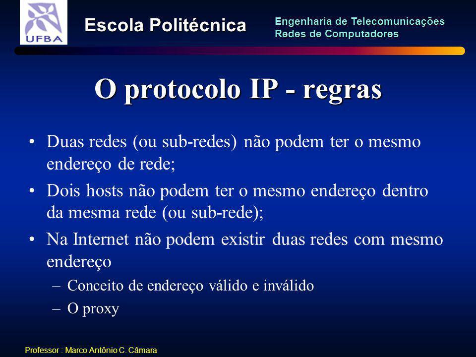O protocolo IP - regras Duas redes (ou sub-redes) não podem ter o mesmo endereço de rede;