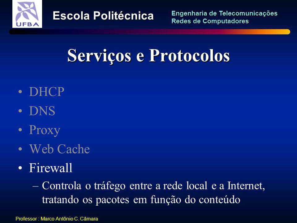 Serviços e Protocolos DHCP DNS Proxy Web Cache Firewall