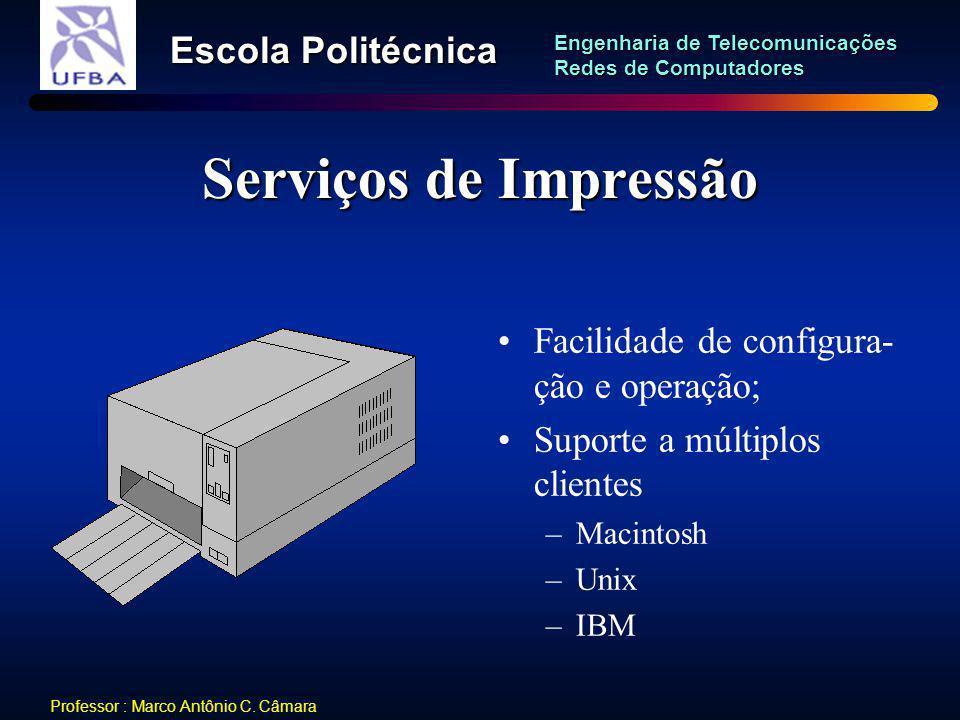 Serviços de Impressão Facilidade de configura-ção e operação;