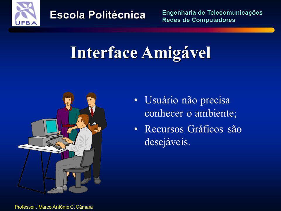 Interface Amigável Usuário não precisa conhecer o ambiente;