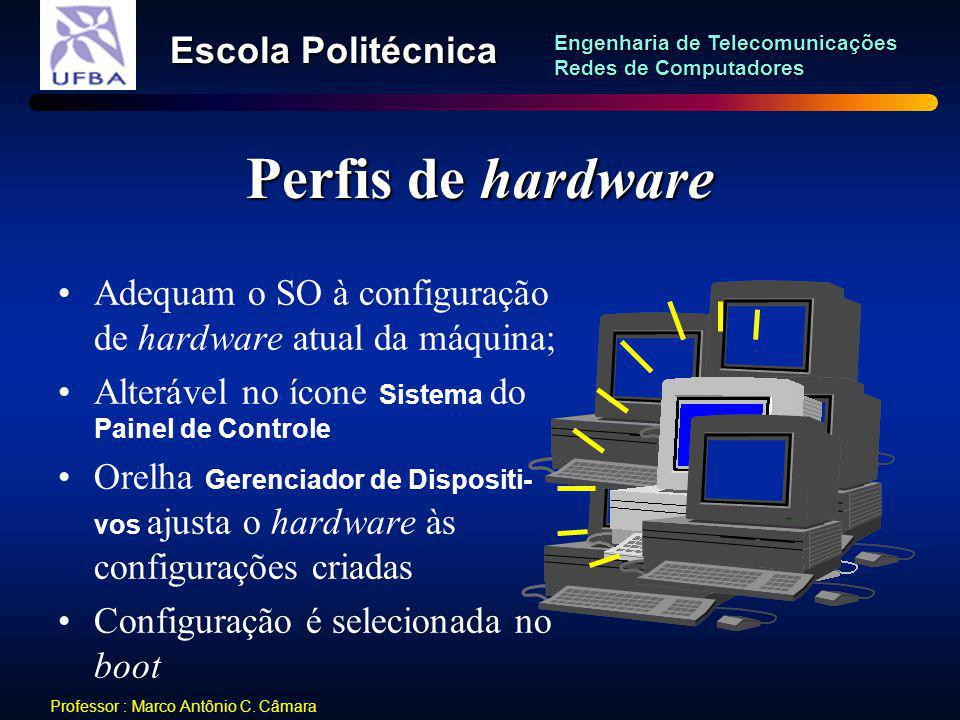 Perfis de hardware Adequam o SO à configuração de hardware atual da máquina; Alterável no ícone Sistema do Painel de Controle.