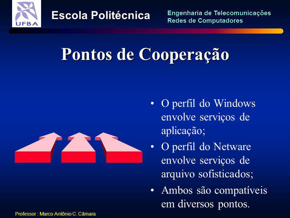 Pontos de Cooperação O perfil do Windows envolve serviços de aplicação; O perfil do Netware envolve serviços de arquivo sofisticados;