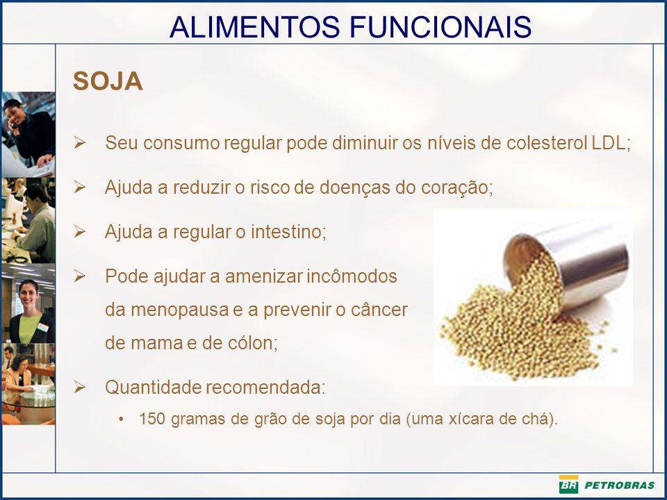 SOJA Seu consumo regular pode diminuir os níveis de colesterol LDL;