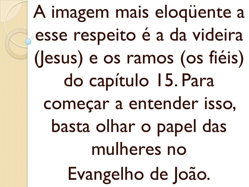 A imagem mais eloqüente a esse respeito é a da videira (Jesus) e os ramos (os fiéis) do capítulo 15. Para começar a entender isso, basta olhar o papel das mulheres no