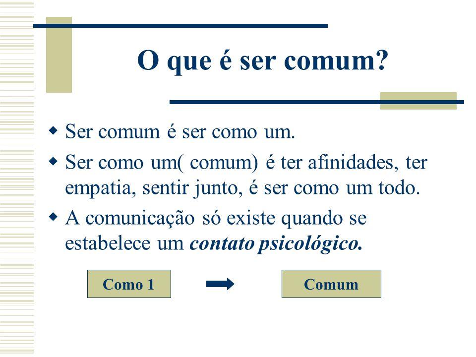 O que é ser comum Ser comum é ser como um.