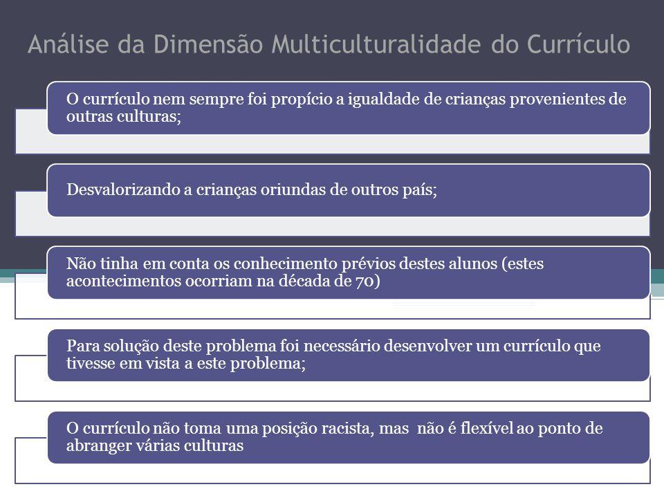 Análise da Dimensão Multiculturalidade do Currículo