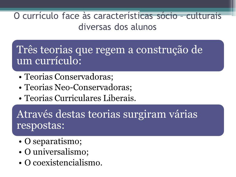 O currículo face às características sócio – culturais diversas dos alunos