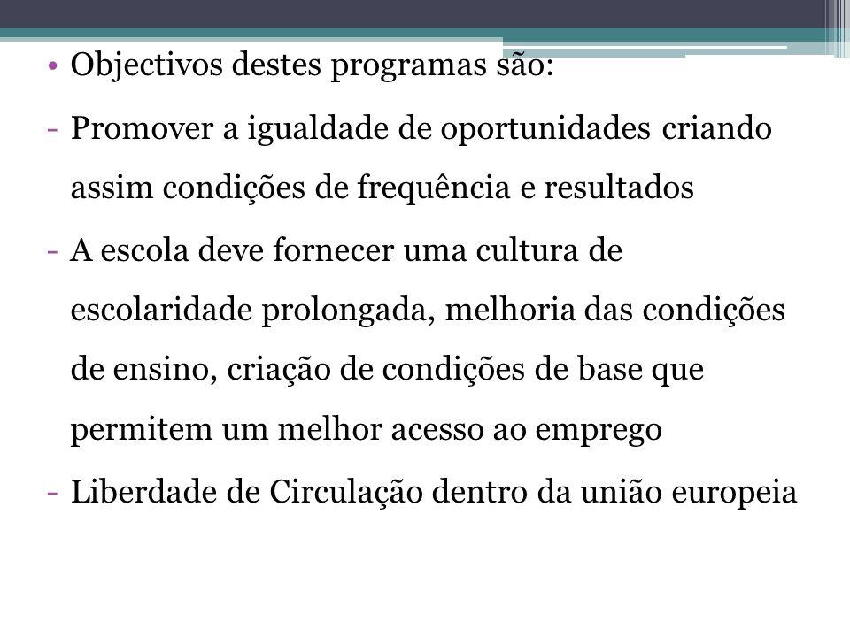 Objectivos destes programas são: