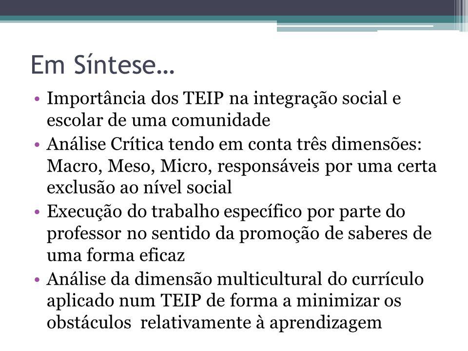 Em Síntese… Importância dos TEIP na integração social e escolar de uma comunidade.
