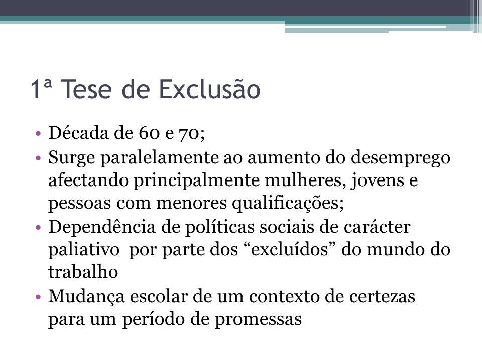 1ª Tese de Exclusão Década de 60 e 70;