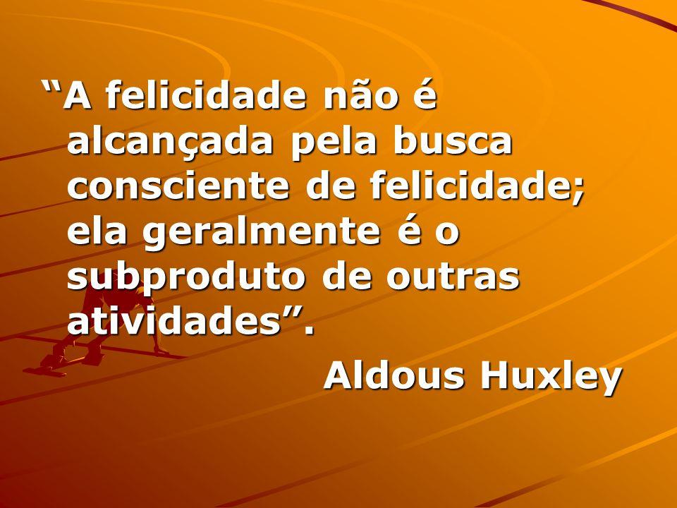 A felicidade não é alcançada pela busca consciente de felicidade; ela geralmente é o subproduto de outras atividades .