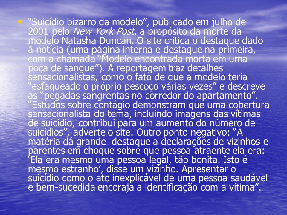 Suicídio bizarro da modelo , publicado em julho de 2001 pelo New York Post, a propósito da morte da modelo Natasha Duncan.
