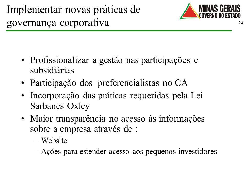 Implementar novas práticas de governança corporativa