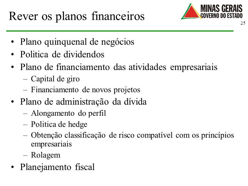 Rever os planos financeiros