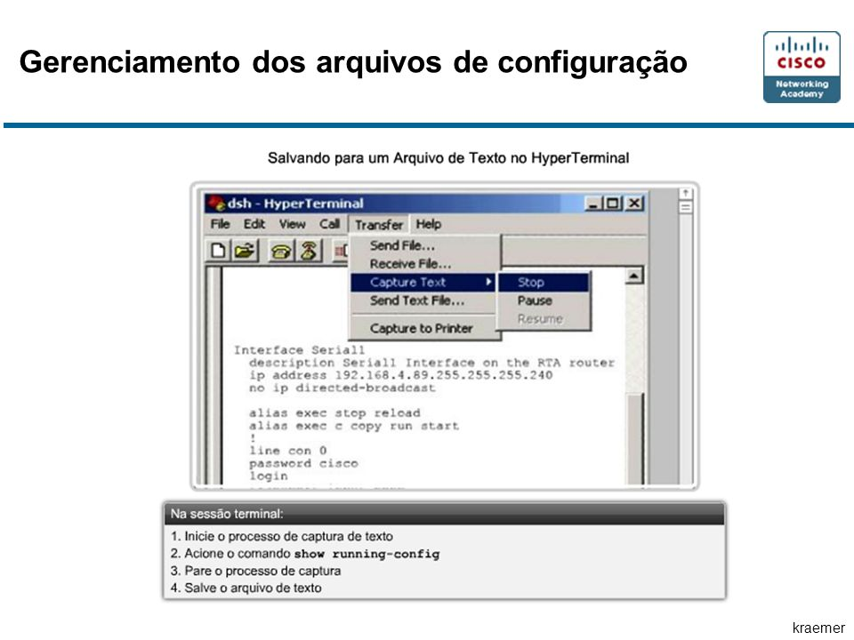 Gerenciamento dos arquivos de configuração