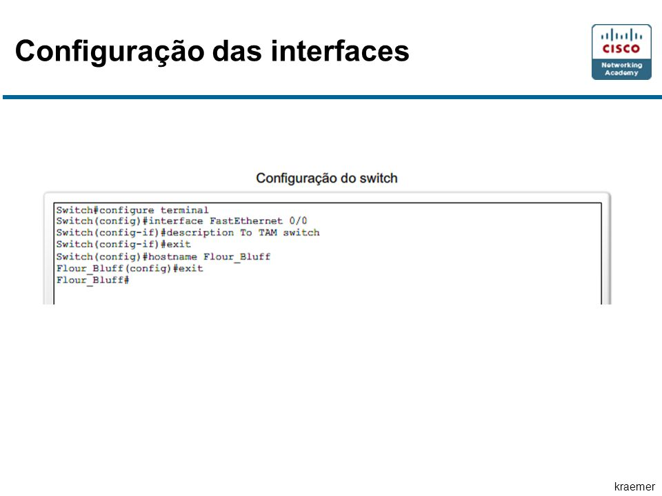 Configuração das interfaces