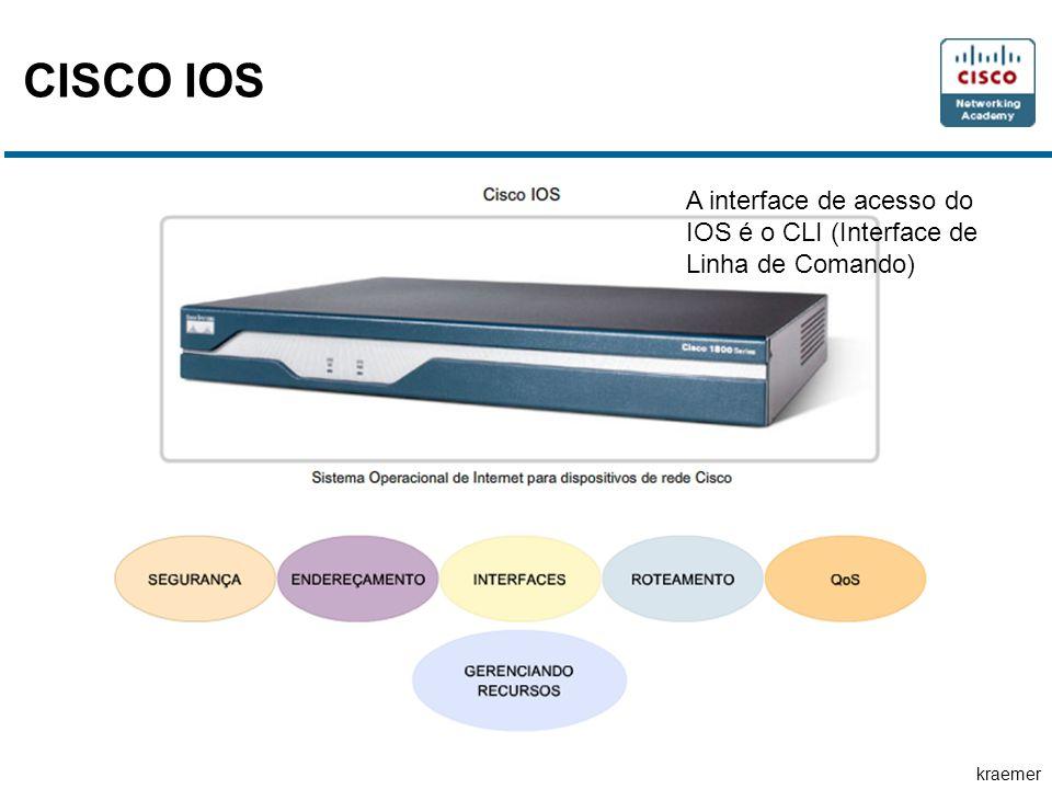 CISCO IOS A interface de acesso do IOS é o CLI (Interface de Linha de Comando)