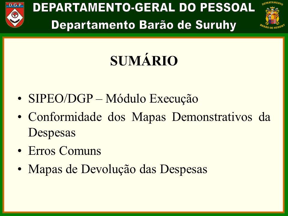 SUMÁRIO SIPEO/DGP – Módulo Execução