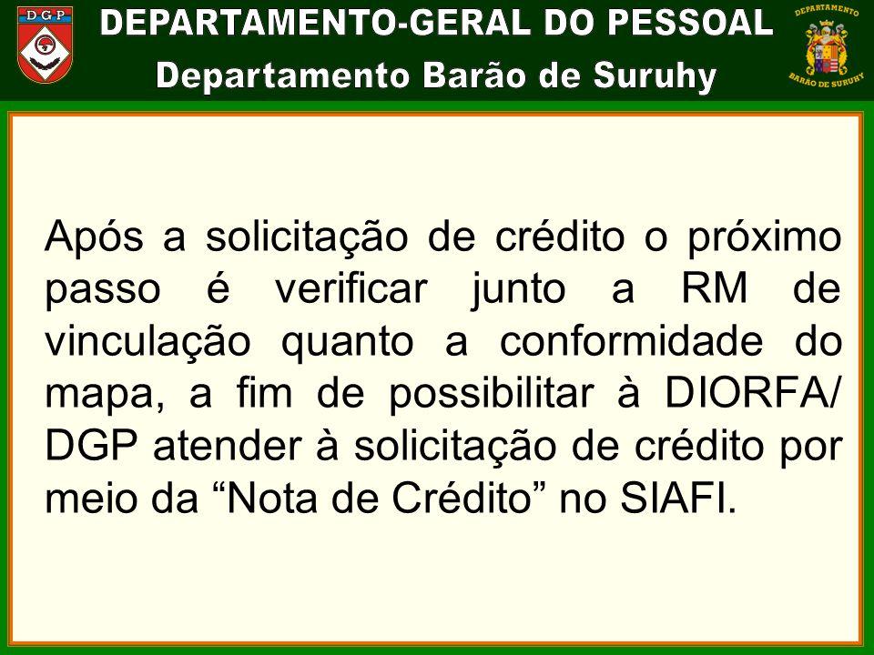Após a solicitação de crédito o próximo passo é verificar junto a RM de vinculação quanto a conformidade do mapa, a fim de possibilitar à DIORFA/ DGP atender à solicitação de crédito por meio da Nota de Crédito no SIAFI.