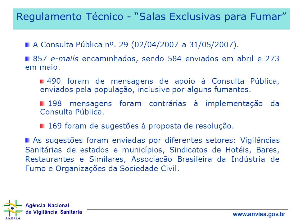 Regulamento Técnico - Salas Exclusivas para Fumar