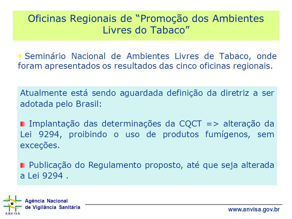 Oficinas Regionais de Promoção dos Ambientes Livres do Tabaco