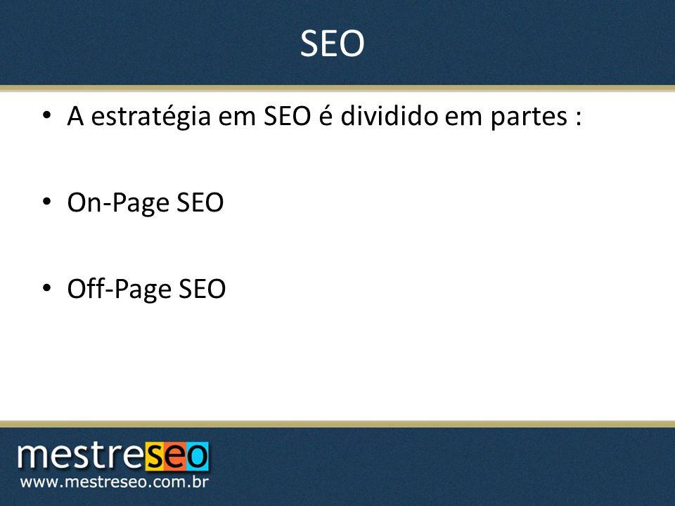 SEO A estratégia em SEO é dividido em partes : On-Page SEO