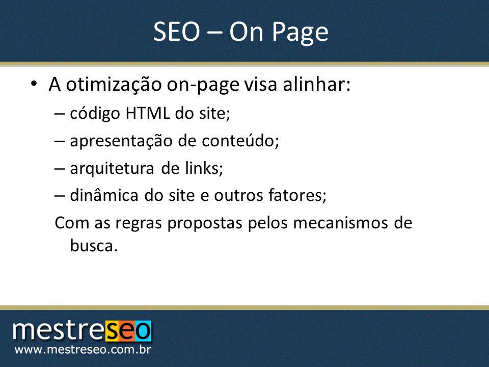SEO – On Page A otimização on-page visa alinhar: código HTML do site;
