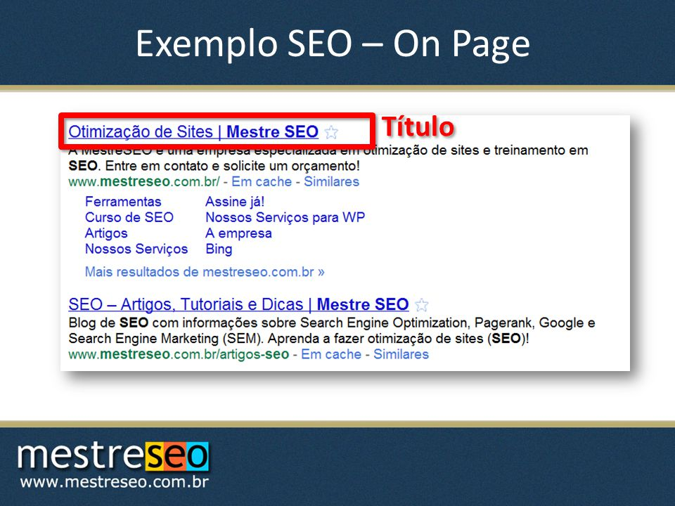 Exemplo SEO – On Page Título