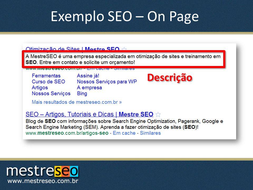 Exemplo SEO – On Page Descrição