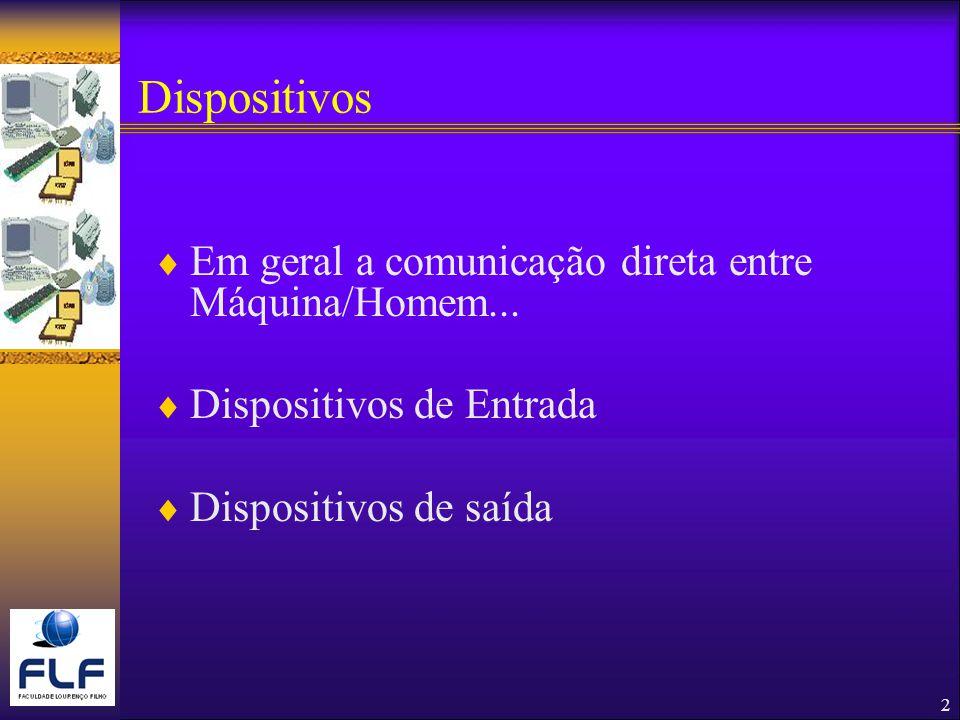 Dispositivos Em geral a comunicação direta entre Máquina/Homem...