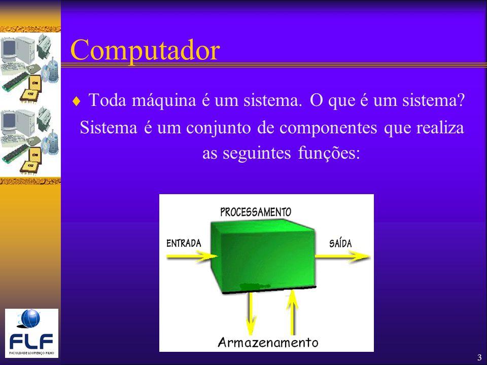 Sistema é um conjunto de componentes que realiza as seguintes funções: