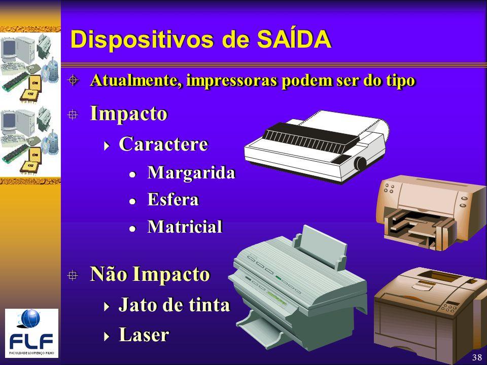 Dispositivos de SAÍDA Impacto Não Impacto Caractere Jato de tinta