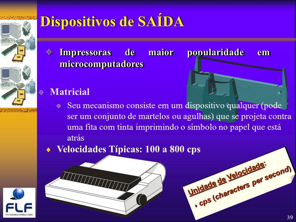Dispositivos de SAÍDA Impressoras de maior popularidade em microcomputadores. Matricial.