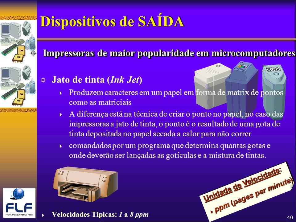 Dispositivos de SAÍDA Impressoras de maior popularidade em microcomputadores. Jato de tinta (Ink Jet)