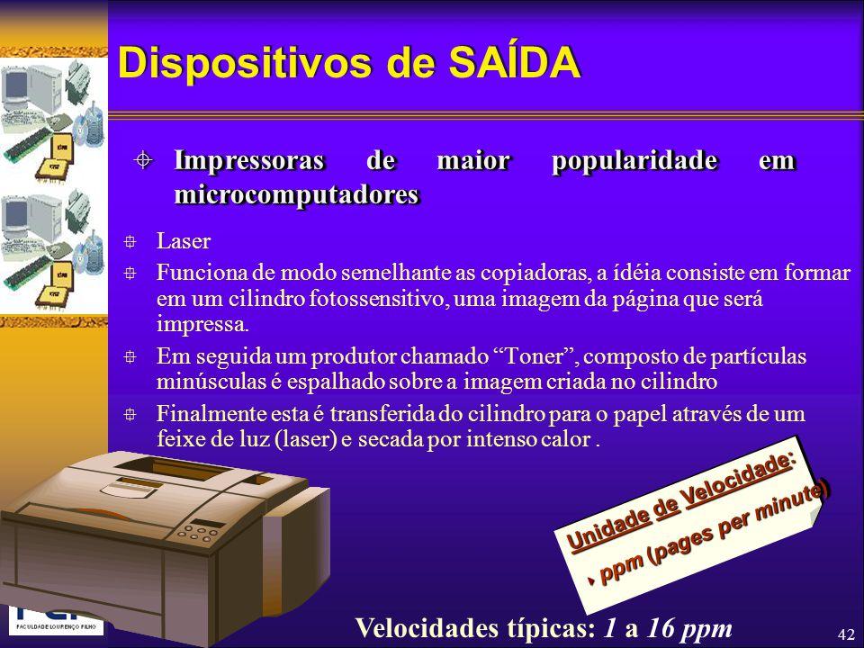 Dispositivos de SAÍDA Impressoras de maior popularidade em microcomputadores. Laser.