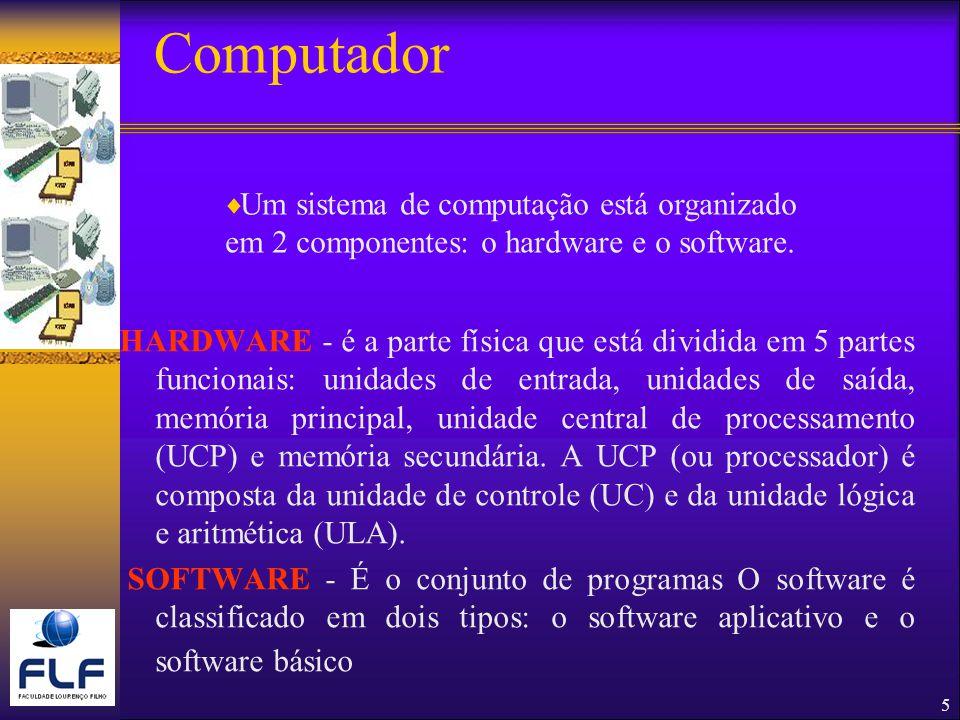 Computador Um sistema de computação está organizado em 2 componentes: o hardware e o software.